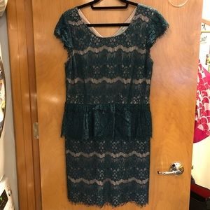 Anthropologie Maeve teal lace peplum dress L